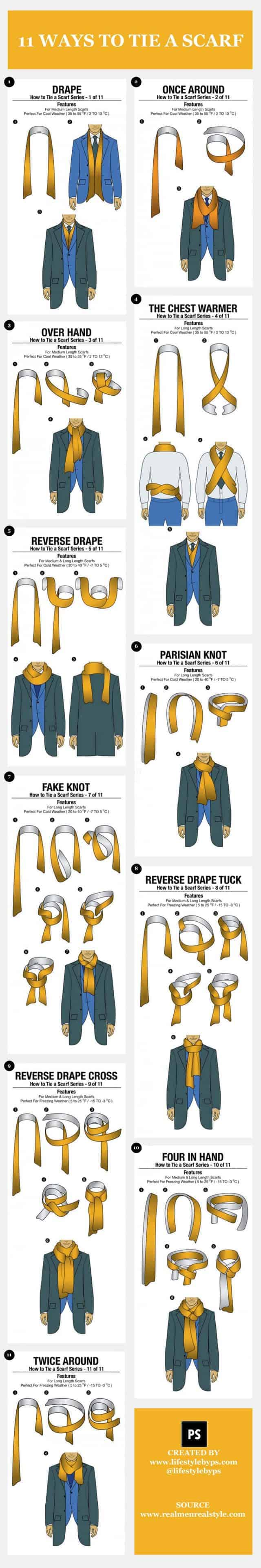 11 simple ways to tie a scarf daily infographic
