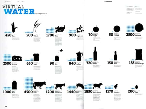 Virtual Water Inside Products Infographic