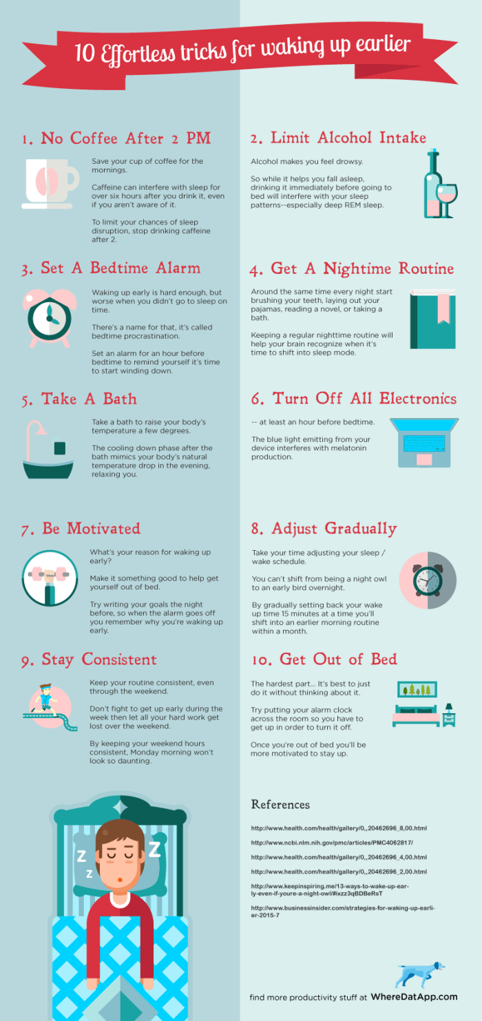 10 Effortless Tips to Waking Up Earlier Infographic
