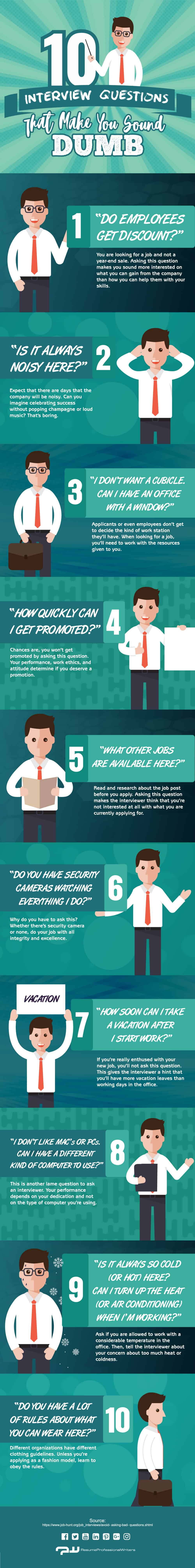 ten interview questions that make you sound dumb infographic ten interview questions that make you sound dumb