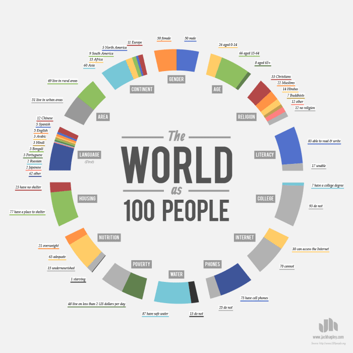 the world represented as 100 people