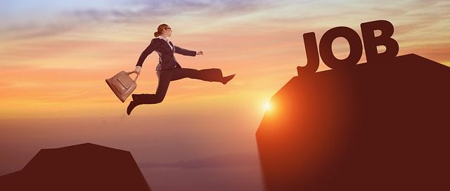 lady jumping between mountains to reach job