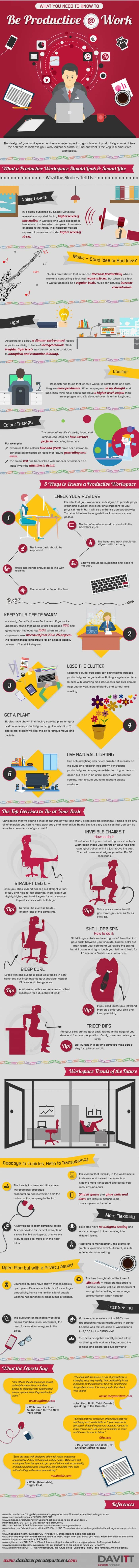 infographic describes How to be productive at work
