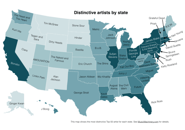 Distinctive Artists By State Infographic
