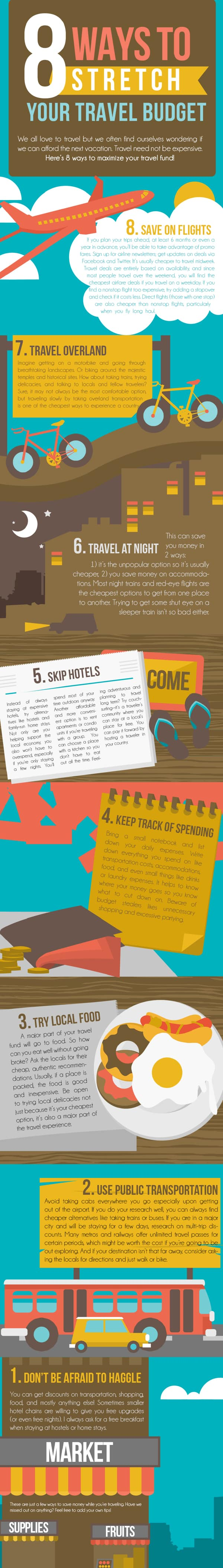 8 ways to Stretch Your Travel Budget Infographic