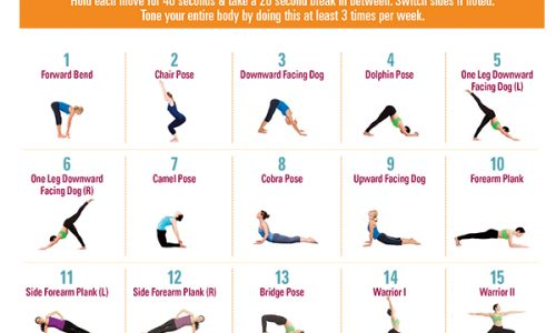 20 minute yoga full body workout showing poses infographic