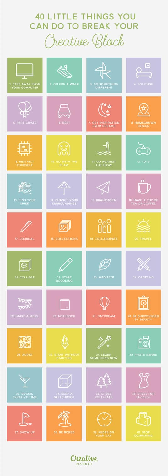 40 Things You Can Do To Break Your Creative Block