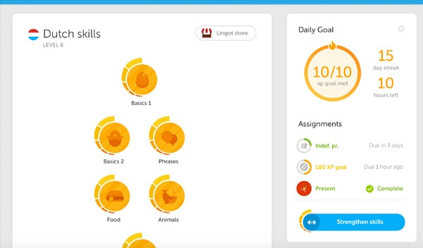 Screenshot from Duolingo app where you can learn a new language