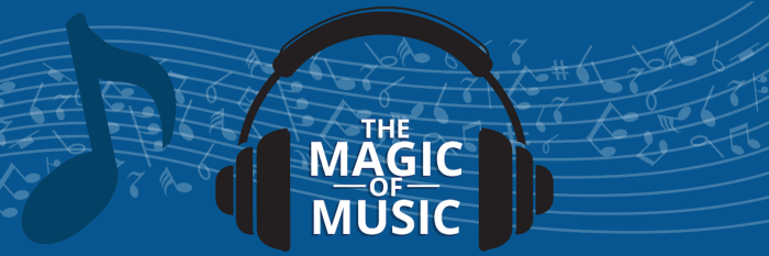 magic of music header showing headphones and music notes