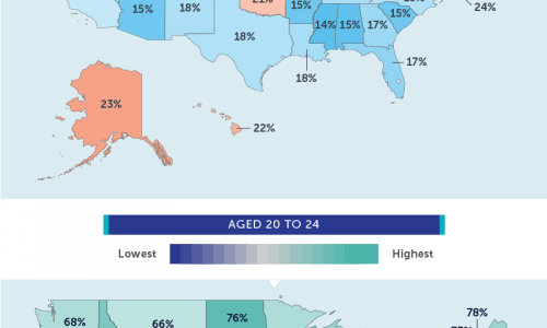 infographic shows employment rates in various U.S. states