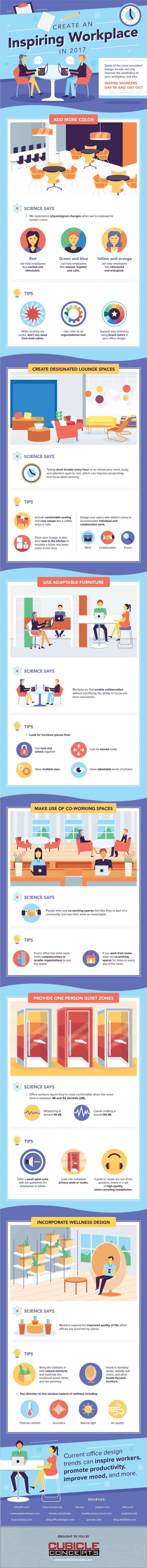 infographic with tips for getting inspired in your workplace