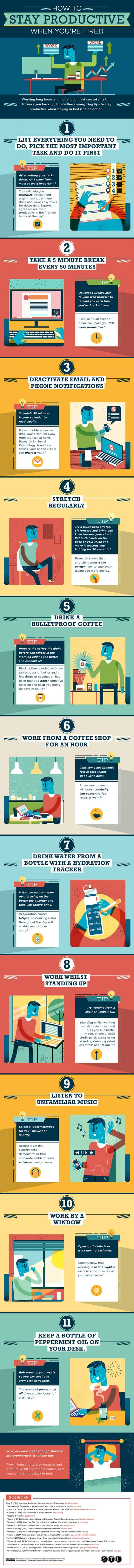 infographic describes how to stay productive when you're tired