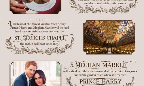 infographic describes fun facts about Prince Harry and his soon-to-be bride Meghan Markle