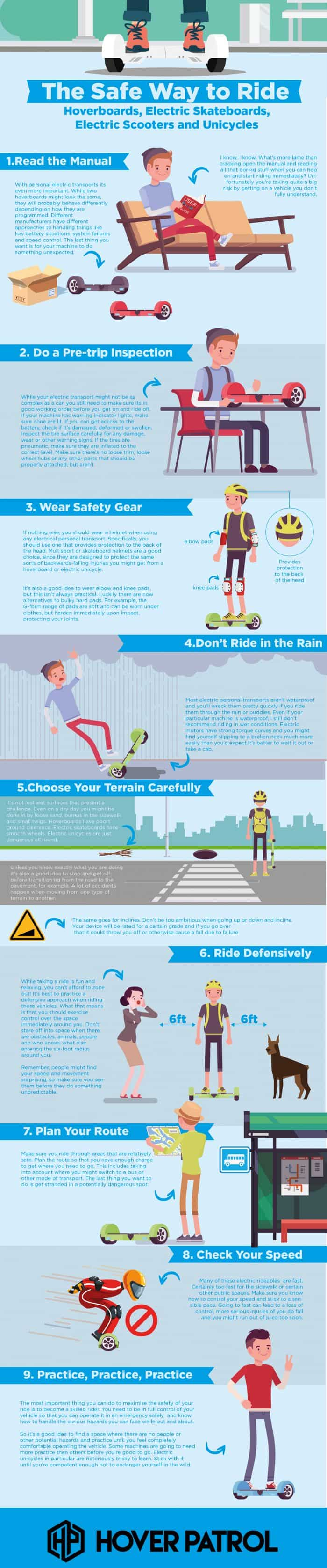 infographic describes safe way to ride hoverboards, electric transport
