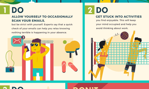 Workaholics Vacation guide infographic