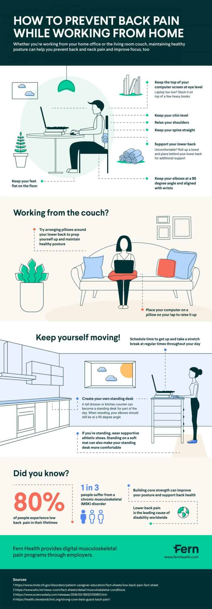 tips to prevent back pain while working from home