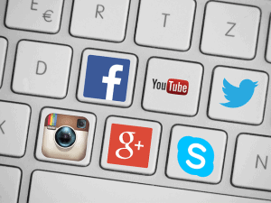 social media icons on keyboard