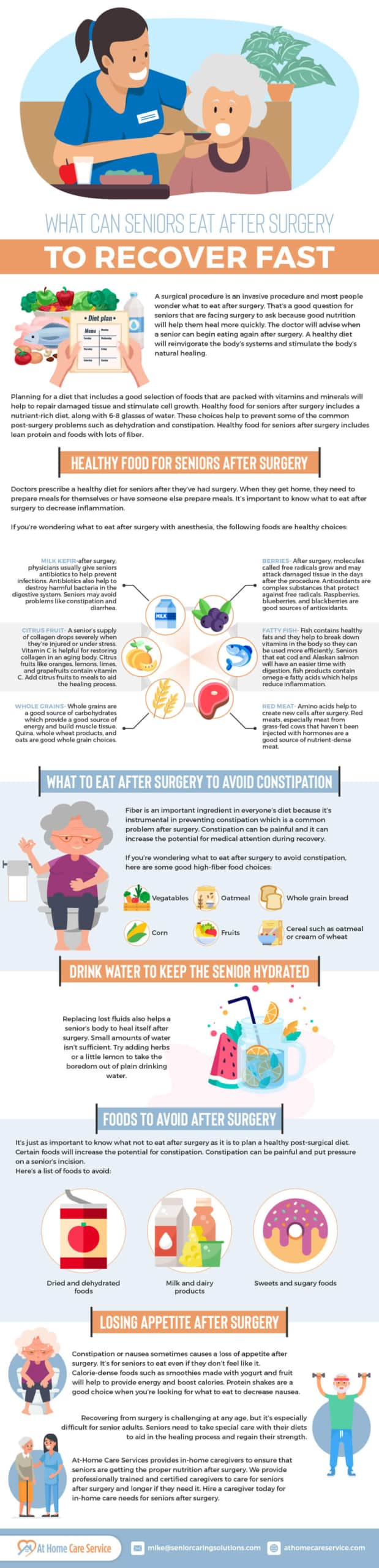 Healthy food for seniors after surgery